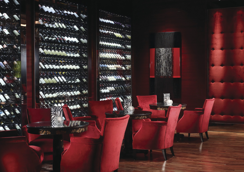 The wall of wines inside the Amaranto Bar at Four Seasons Hotel London at Park Lane