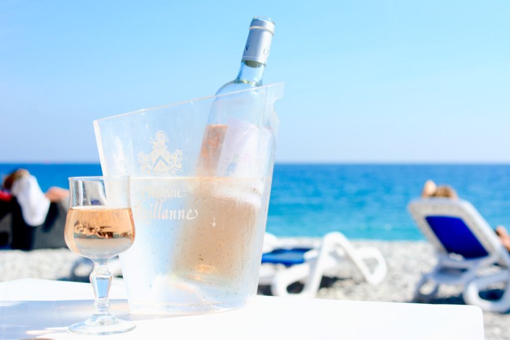rosé wine on the beach in Nice France