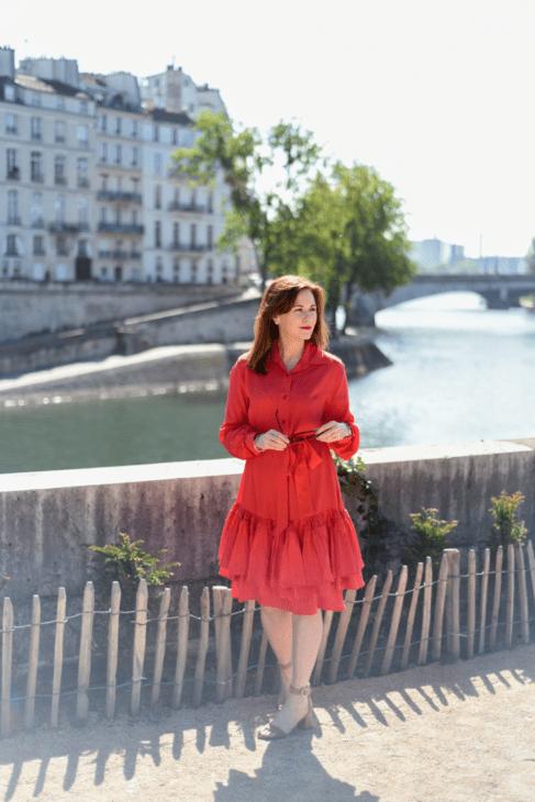 Leah Travels red dress Seine River